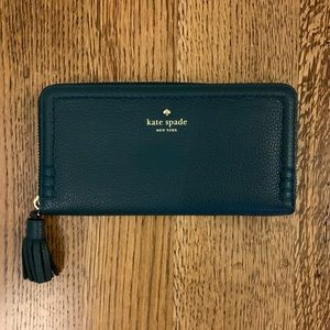 Kate Spade Pebble Leather Tassel Zip Wallet